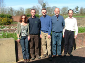 The April MoC meeting (left to right) Dawn Brickwood-WMI, Iain Parkinson-Kew, Simon Phipps–HWLT, Keith Datchler OBE–HWLT and Michael Way-Kew